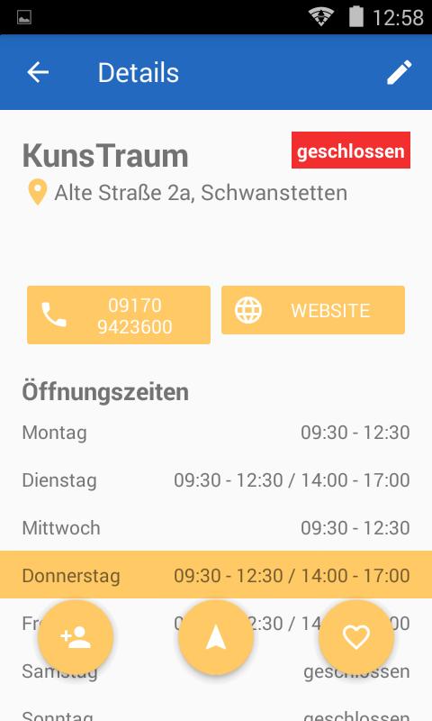 Screenshot der Öffnungszeiten App