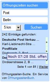 Öffnungszeiten Suchbox für die eigene Homepage