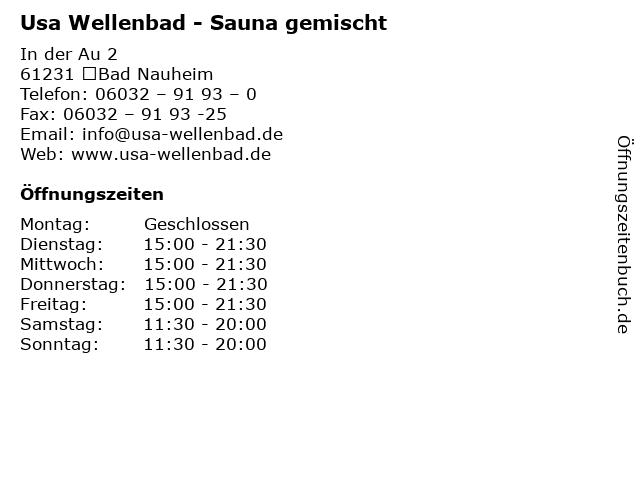 Usa Wellenbad - Sauna gemischt in Bad Nauheim: Adresse und Öffnungszeiten