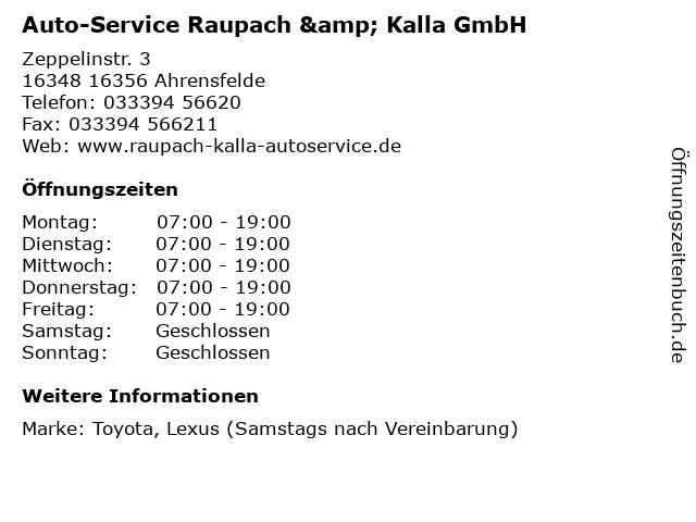 Auto-Service Raupach & Kalla GmbH in 16356 Ahrensfelde: Adresse und Öffnungszeiten