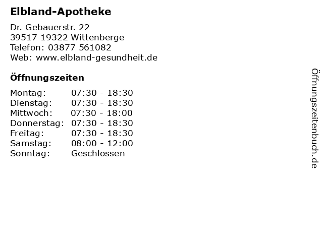 Elbland-Apotheke in 19322 Wittenberge: Adresse und Öffnungszeiten