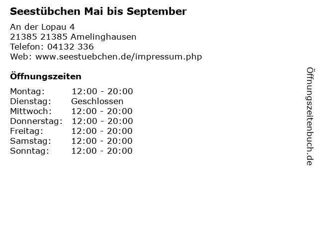 Seestübchen Mai bis September in 21385 Amelinghausen: Adresse und Öffnungszeiten