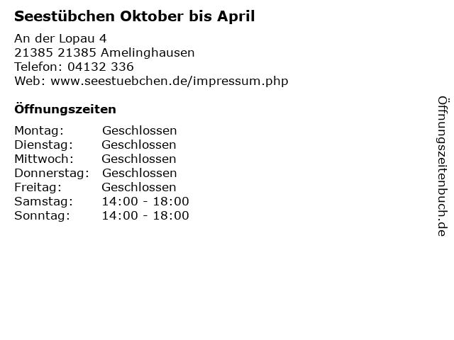 Seestübchen Oktober bis April in 21385 Amelinghausen: Adresse und Öffnungszeiten