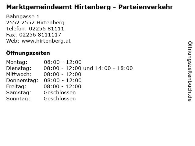 Marktgemeindeamt Hirtenberg - Parteienverkehr in 2552 Hirtenberg: Adresse und Öffnungszeiten