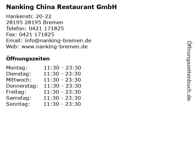 Nanking China Restaurant GmbH in 28195 Bremen: Adresse und Öffnungszeiten
