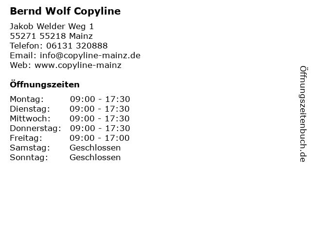 Bernd Wolf Copyline in 55218 Mainz: Adresse und Öffnungszeiten