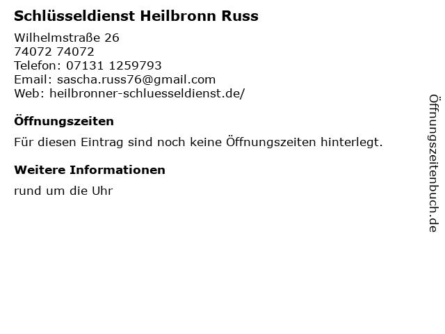 Schlüsseldienst Heilbronn Russ in 74072: Adresse und Öffnungszeiten