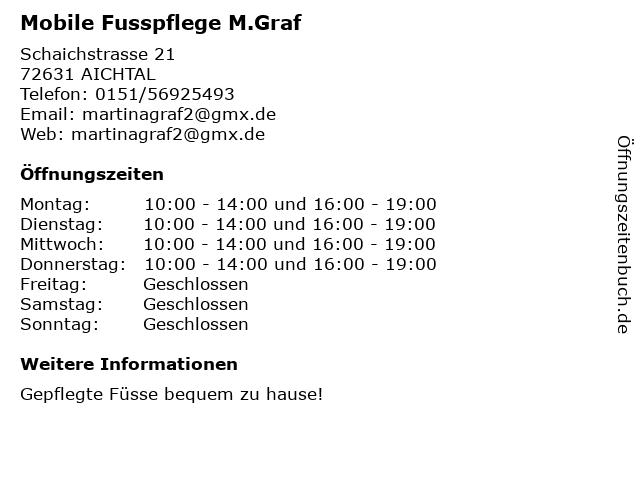 Mobile Fusspflege M.Graf in AICHTAL: Adresse und Öffnungszeiten