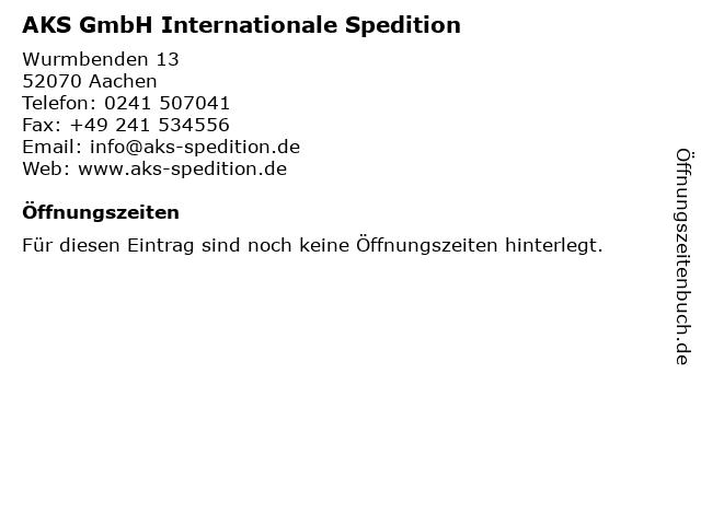 AKS GmbH Internationale Spedition in Aachen: Adresse und Öffnungszeiten