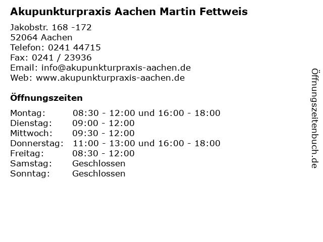 Akupunkturpraxis Aachen Martin Fettweis in Aachen: Adresse und Öffnungszeiten
