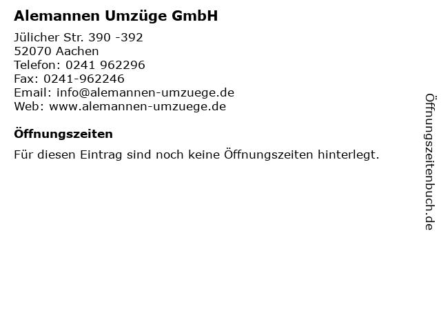 Alemannen Umzüge GmbH in Aachen: Adresse und Öffnungszeiten