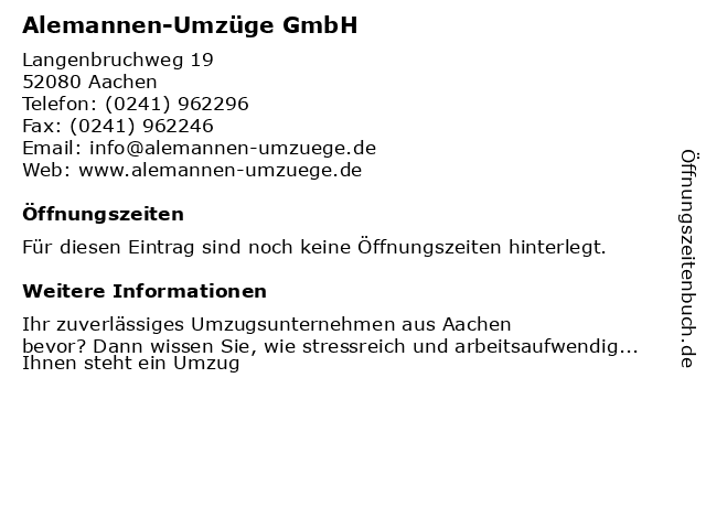 Alemannen-Umzüge GmbH in Aachen: Adresse und Öffnungszeiten
