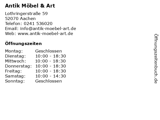 ᐅ öffnungszeiten Antik Möbel Art Lothringerstraße 59 In Aachen