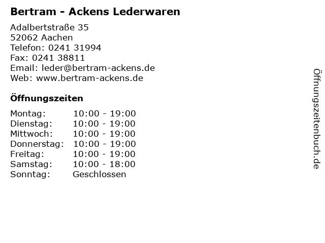 Bertram - Ackens Lederwaren in Aachen: Adresse und Öffnungszeiten