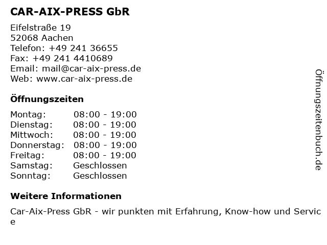 CAR-AIX-PRESS GbR in Aachen: Adresse und Öffnungszeiten