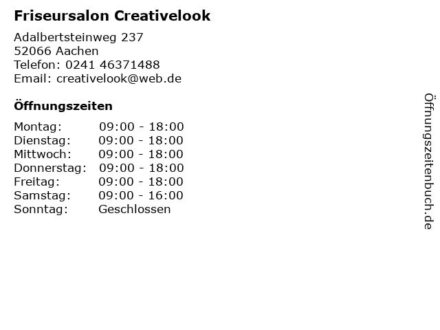 """ᐅ Öffnungszeiten """"creative look friseursalon""""   adalbertsteinweg"""