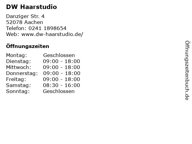 DW Haarstudio in Aachen: Adresse und Öffnungszeiten