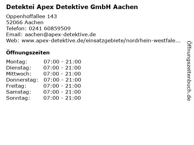 Detektei Apex Detektive GmbH Aachen in Aachen: Adresse und Öffnungszeiten