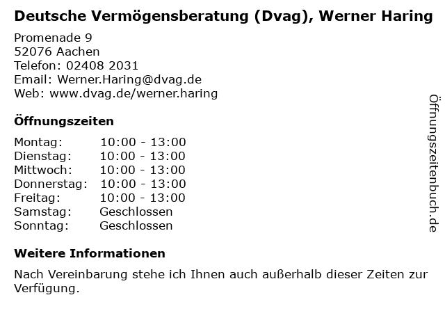 Deutsche Vermögensberatung (Dvag), Werner Haring in Aachen: Adresse und Öffnungszeiten