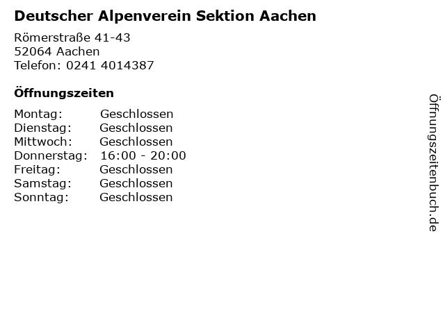 Deutscher Alpenverein Sektion Aachen in Aachen: Adresse und Öffnungszeiten