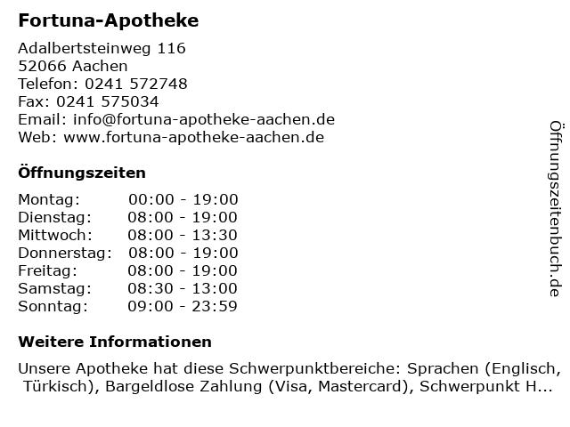 Fortuna Apotheke in Aachen: Adresse und Öffnungszeiten