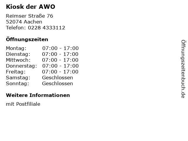 Kiosk der AWO in Aachen: Adresse und Öffnungszeiten