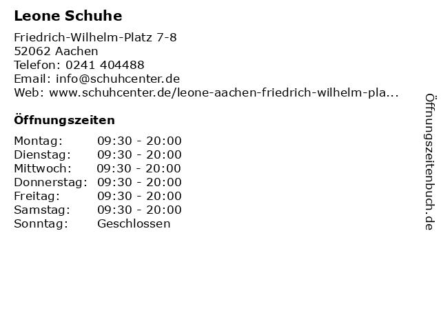 Leone Schuhe in Aachen: Adresse und Öffnungszeiten