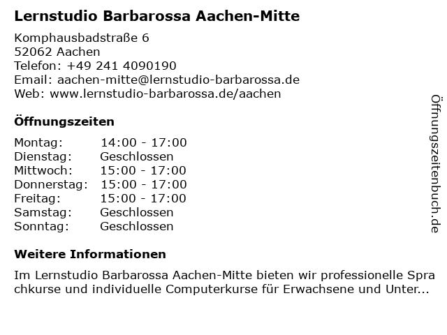 Lernstudio Barbarossa Aachen-Mitte in Aachen: Adresse und Öffnungszeiten