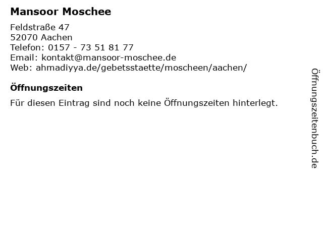 Mansoor Moschee in Aachen: Adresse und Öffnungszeiten