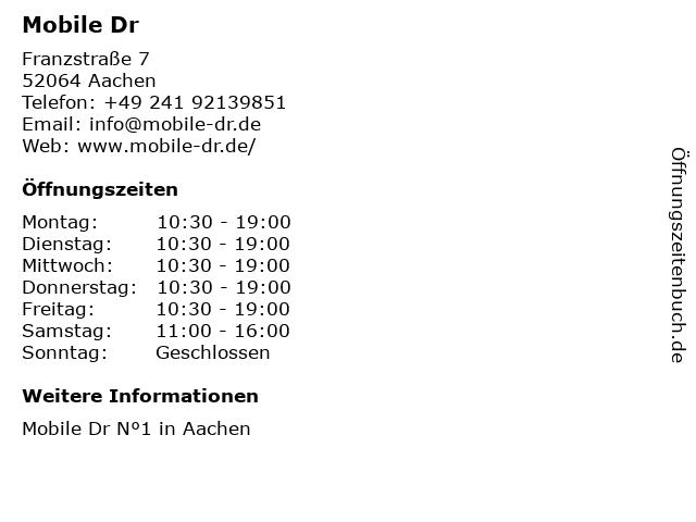 ᐅ öffnungszeiten Mobile Dr Franzstr 7 In Aachen