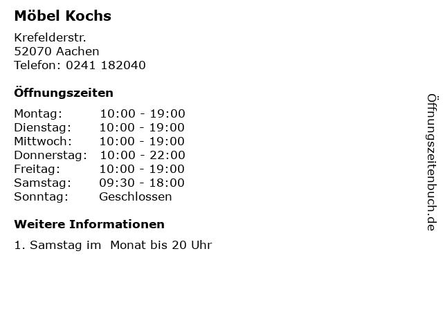 ᐅ öffnungszeiten Möbel Kochs Krefelderstr In Aachen