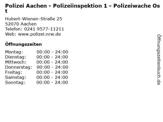 Polizei Aachen - Polizeiinspektion 1 - Polizeiwache Ost in Aachen: Adresse und Öffnungszeiten