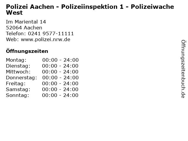 Polizei Aachen - Polizeiinspektion 1 - Polizeiwache West in Aachen: Adresse und Öffnungszeiten