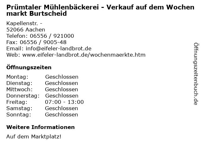 Prümtaler Mühlenbäckerei - Verkauf auf dem Wochenmarkt Burtscheid in Aachen: Adresse und Öffnungszeiten
