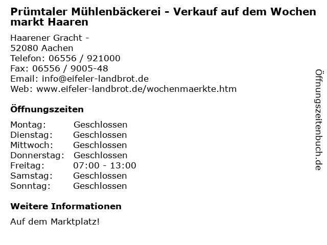 Prümtaler Mühlenbäckerei - Verkauf auf dem Wochenmarkt Haaren in Aachen: Adresse und Öffnungszeiten