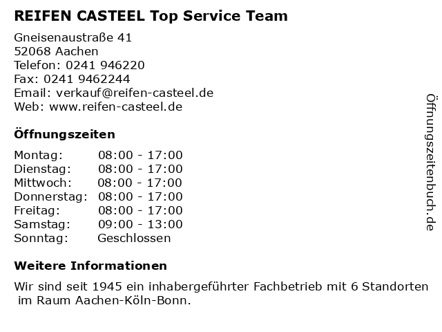 REIFEN CASTEEL Top Service Team in Aachen: Adresse und Öffnungszeiten