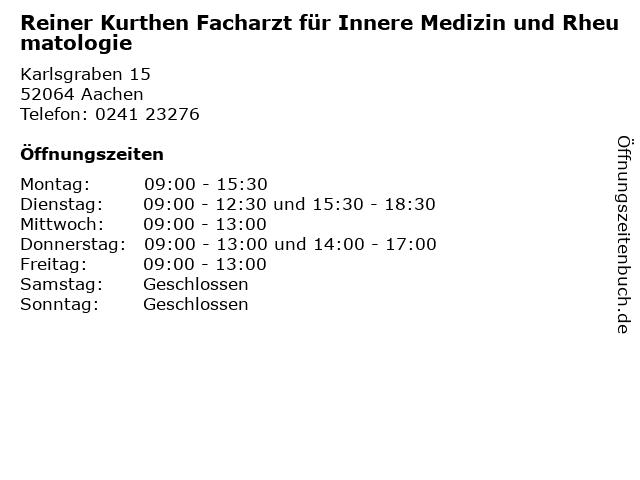Reiner Kurthen Facharzt für Innere Medizin und Rheumatologie in Aachen: Adresse und Öffnungszeiten