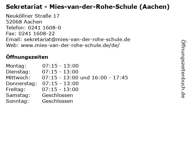 ᐅ öffnungszeiten Sekretariat Mies Van Der Rohe Schule Aachen