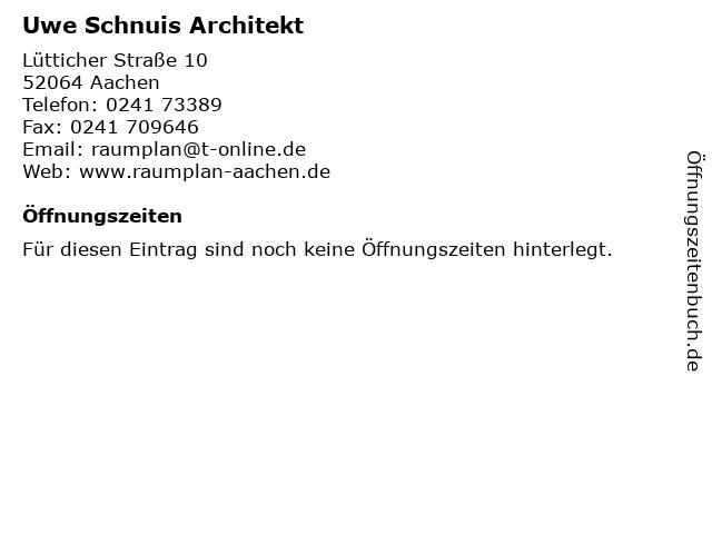 ᐅ öffnungszeiten Uwe Schnuis Architekt Lütticher Straße 10 In
