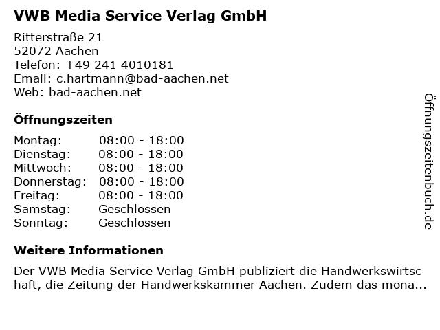 VWB Media Service Verlag GmbH in Aachen: Adresse und Öffnungszeiten