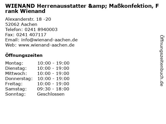 """1752a157f1101f ᐅ Öffnungszeiten """"WIENAND Herrenausstatter   Maßkonfektion"""