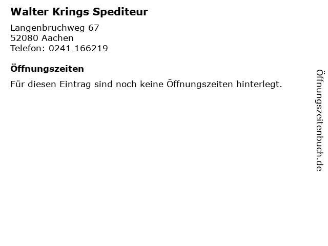 Walter Krings Spediteur in Aachen: Adresse und Öffnungszeiten