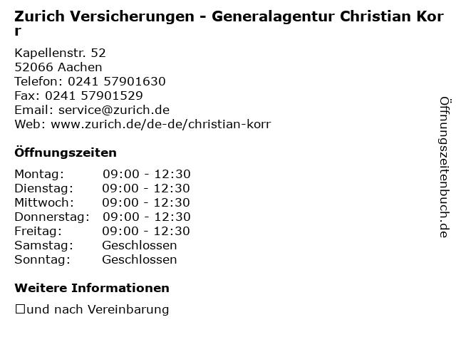 ᐅ Offnungszeiten Zurich Versicherungen Generalagentur Christian