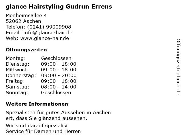 glance Hairstyling Gudrun Errens in Aachen: Adresse und Öffnungszeiten
