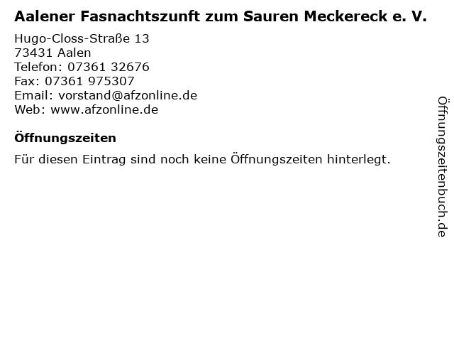 Aalener Fasnachtszunft zum Sauren Meckereck e. V. in Aalen: Adresse und Öffnungszeiten