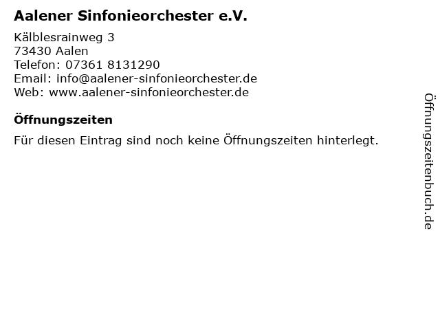 Aalener Sinfonieorchester e.V. in Aalen: Adresse und Öffnungszeiten