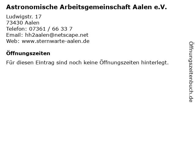 Astronomische Arbeitsgemeinschaft Aalen e.V. in Aalen: Adresse und Öffnungszeiten