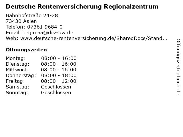 Deutsche Rentenversicherung Regionalzentrum in Aalen: Adresse und Öffnungszeiten
