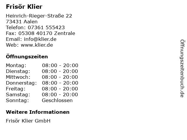 Frisör Klier GmbH in Aalen: Adresse und Öffnungszeiten
