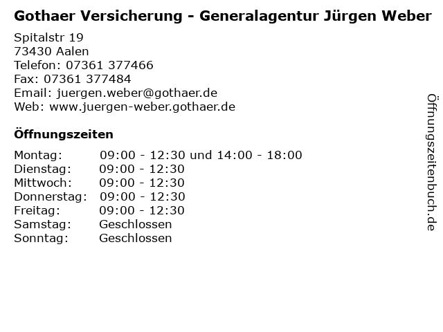 Gothaer Versicherung - Generalagentur Jürgen Weber in Aalen: Adresse und Öffnungszeiten